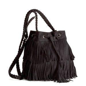 H&M Black Shoulder Bag With Suede Fringe Purse